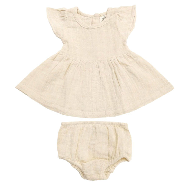 organic muslin baby dress. Lucy Lue Organics. Muslin baby clothes. Double gauze baby clothes. Organic muslin baby sleeper. baby girl clothes. luxury baby dresses. Jamie Kay muslin