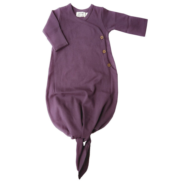 Organic cotton knotted kimono gown made by Lucy Lue Organics. Organic baby clothes. Modern organic baby clothes. Baby clothes. Unisex baby clothes. Eco-friendly baby clothes