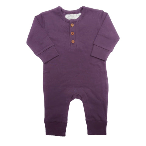 Long sleeve baby romper by Lucy Lue Organics. Long sleeve coverall. Made in the softest organic cotton. Modern baby style. Cute Baby girl clothes.