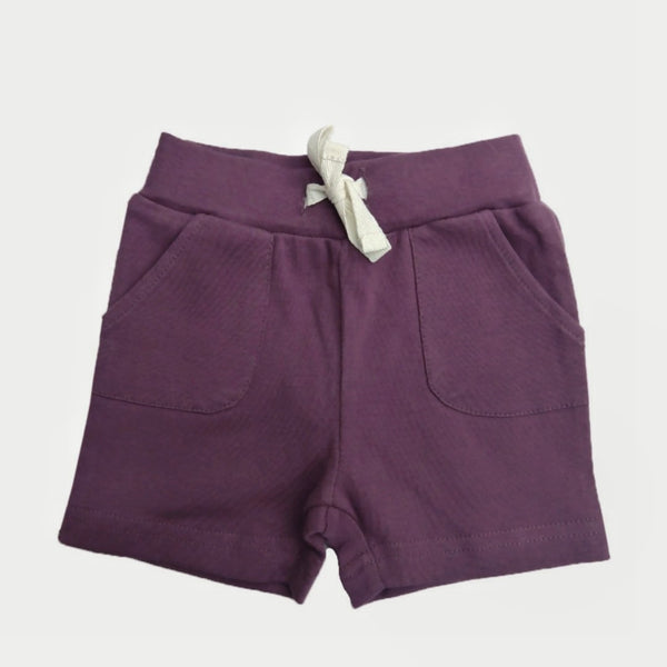 organic baby shorts w/ pockets | plum