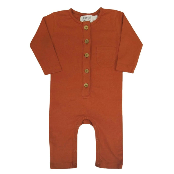 Organic Long Sleeve Romper by Lucy Lue Organics. Affordable organic baby clothes. Soft baby clothes. Stylish baby clothes. Newborn baby clothes, modern baby clothes, organic baby romper, organic bodysuits, Loved baby, Spearmintlove, button rompers
