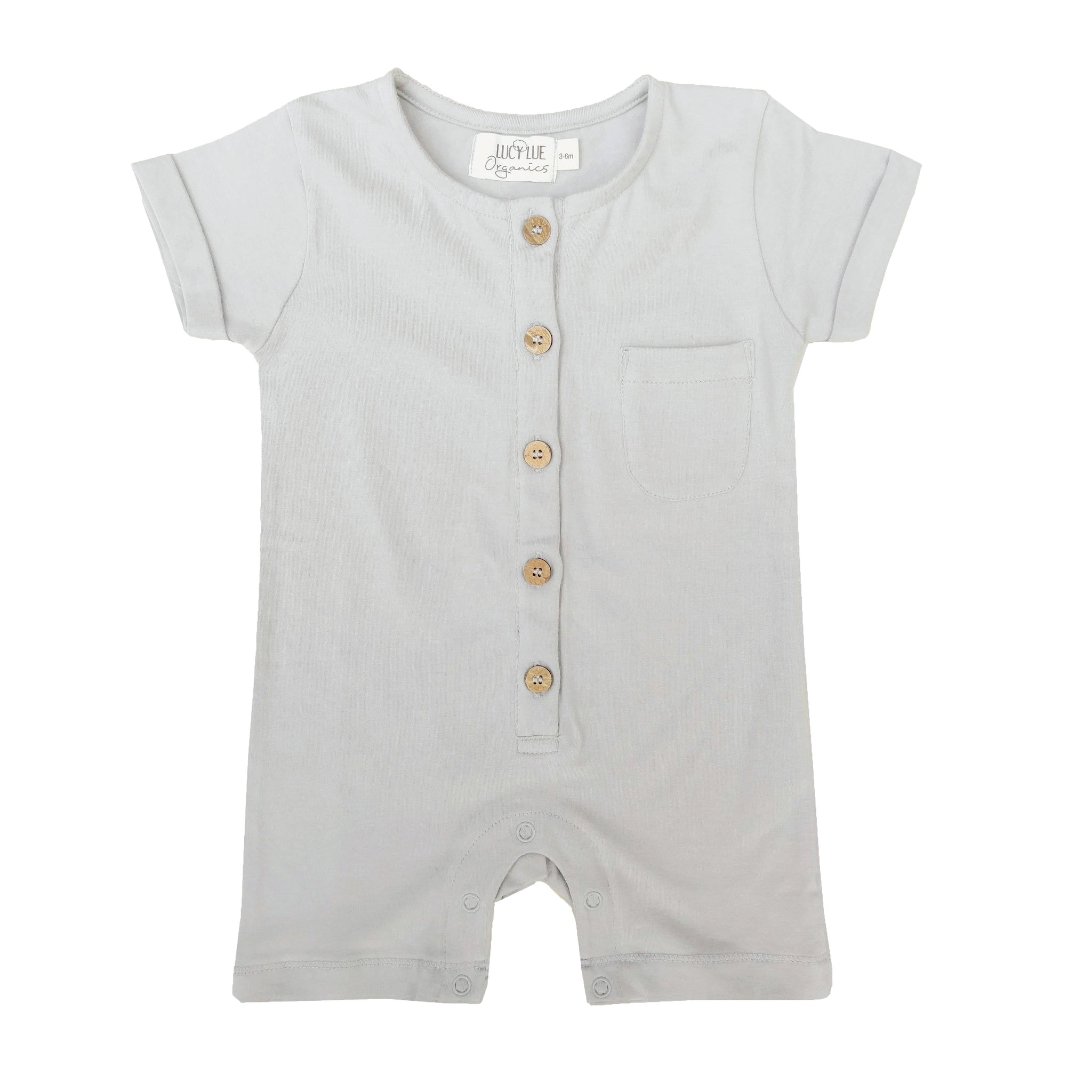Baby romper shortall by Lucy Lue Organics. Organic baby clothes, organic toddler clothes, organic cotton, organic baby, eco friendly clothing, fair trade clothing, baby clothes, modern organic baby clothes, baby boy clothes, baby girl clothes, unisex baby clothes.