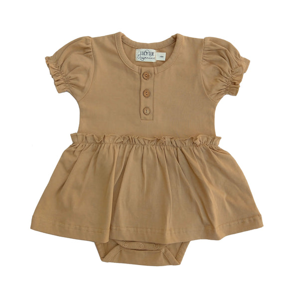 Organic Skirted Bodysuit | Wheat