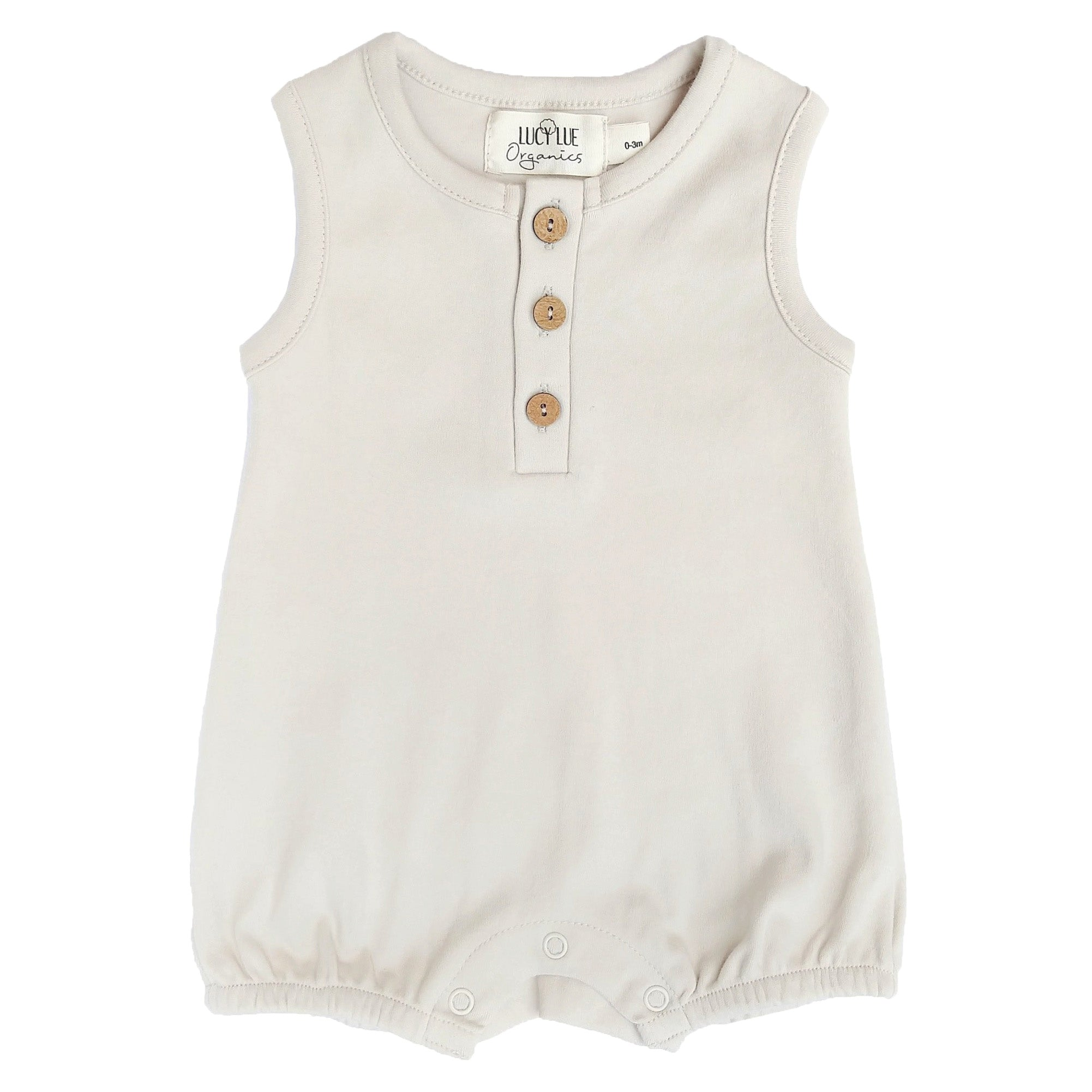 organic sleeveless bubble romper | oatmeal