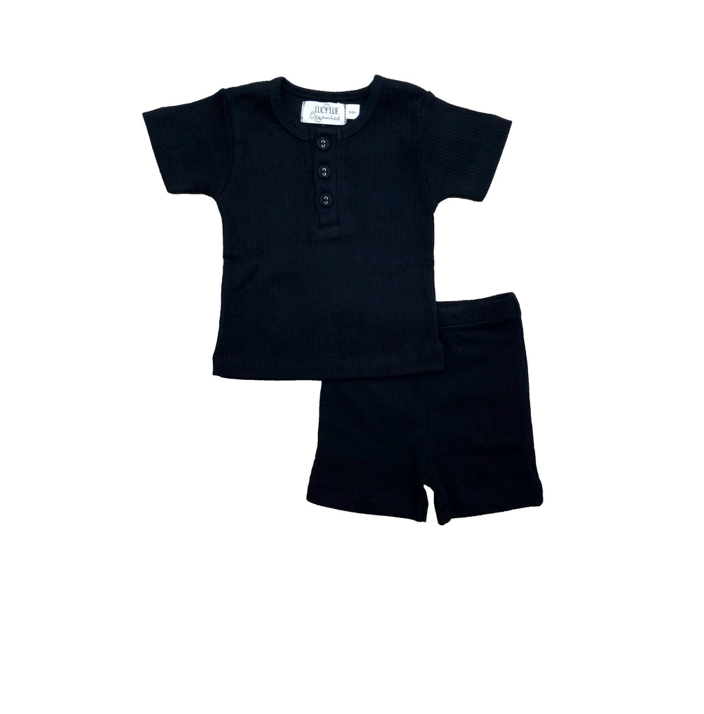 2 Piece baby set by Lucy Lue Organics. Ribbed Henley shirt and short set. Organic baby clothes, organic toddler clothes, organic cotton, organic baby, eco friendly clothing, fair trade clothing, baby clothes, modern organic baby clothes, baby boy clothes, baby girl clothes, unisex baby clothes. Summer baby styles.
