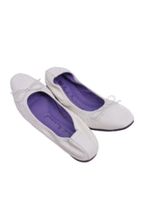 Simple Square-toe Flats - White