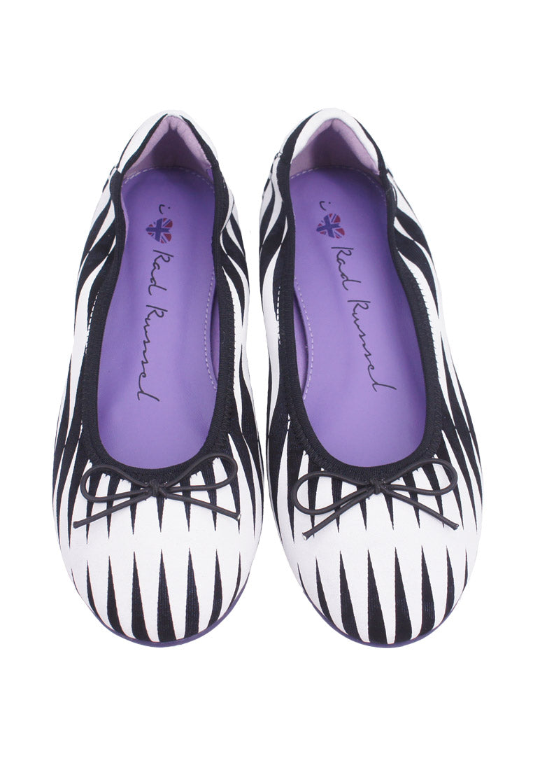 Zigzag Striped Flats - White