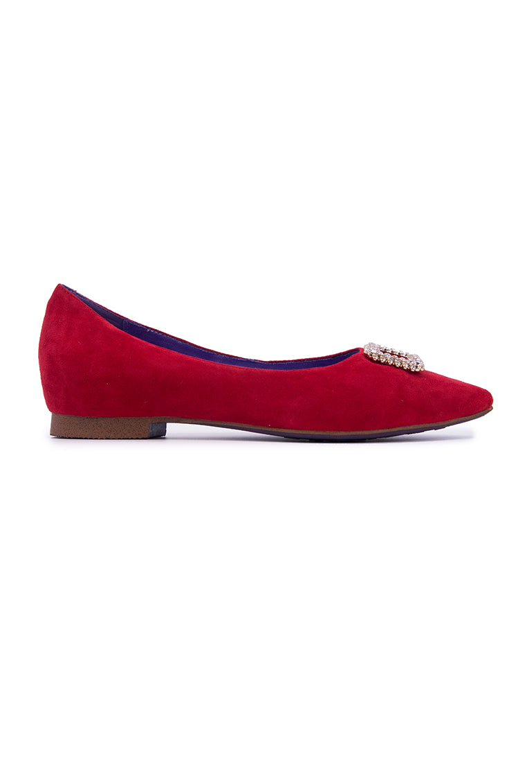 Shiny Embellished Flats - Red