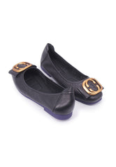 Square Buckle Flats - Black