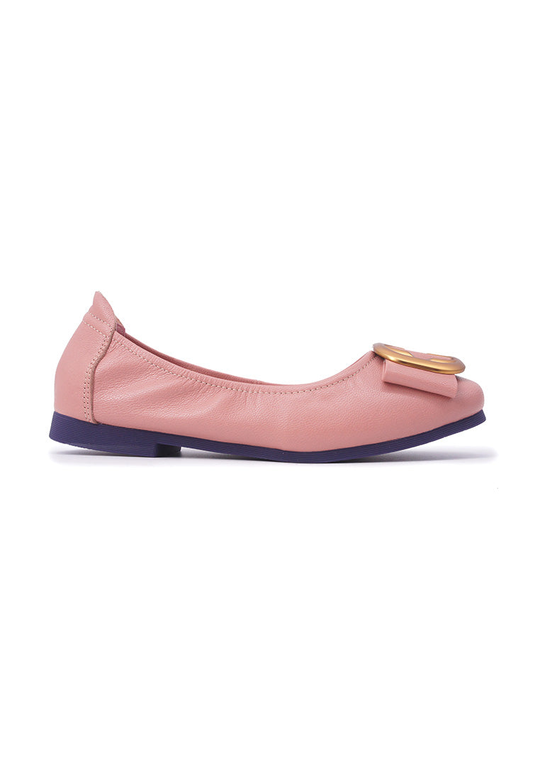 Square Buckle Flats - Pink