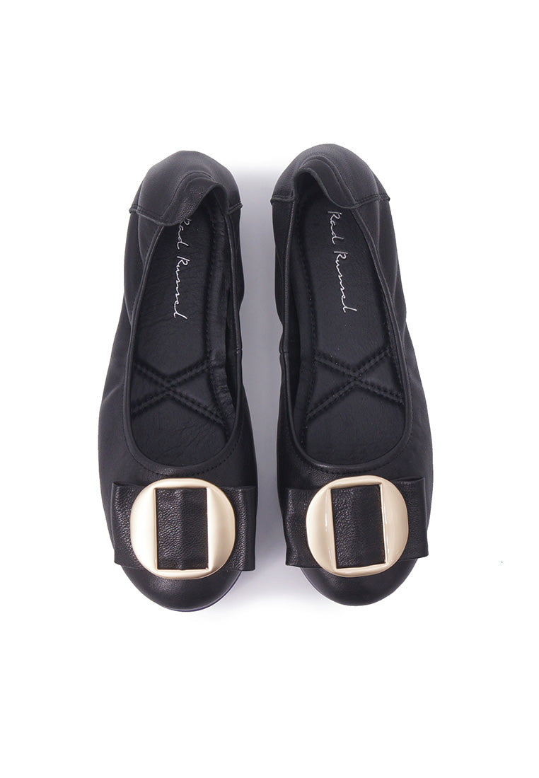 Chic Buckle Flats - Black