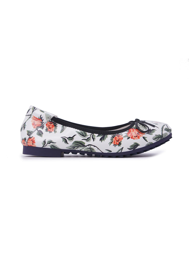 Floral Patterned Flats - White