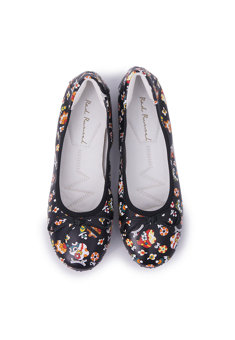 Colourful Patterned Flats - Black