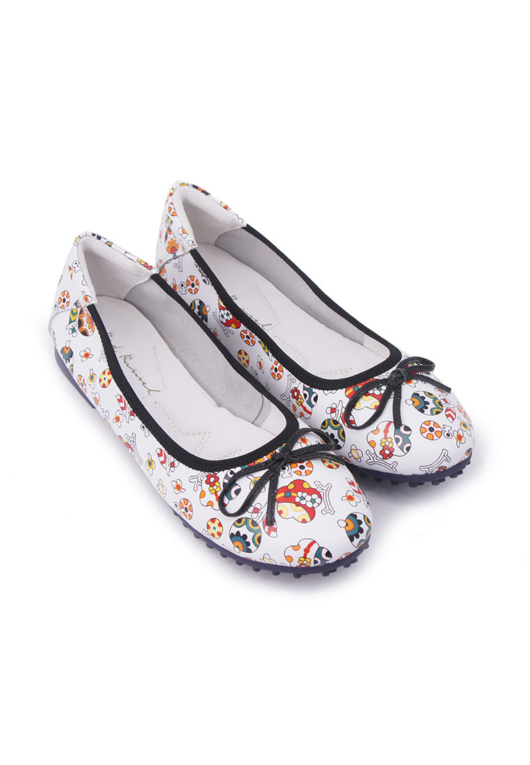 Colourful Patterned Flats - White