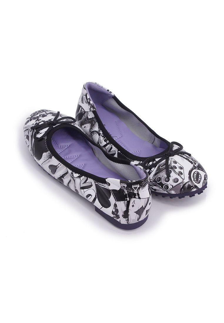 Poker Patterned Flats-Black