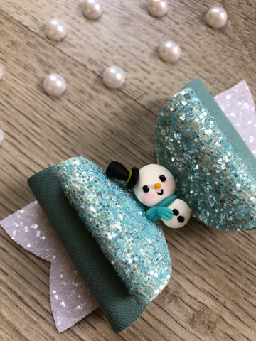 Christmas Snow Blue Bow