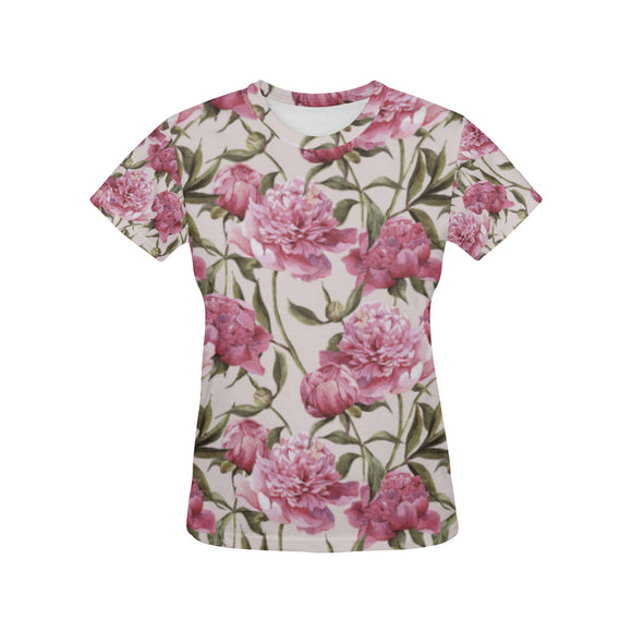 Julia Rose Nature Flower Floral Vintage Peony Pink Elegant Women's All Over Print Mesh T-shirt (USA Size) (Model T40)