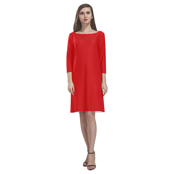Red Dress Loose Round Neck Dress(Model D22)