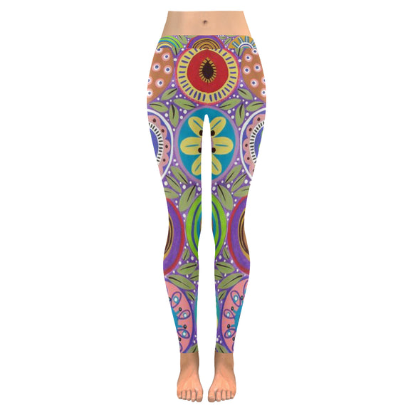 Abstract All-Over Low Rise Leggings (Model L05)