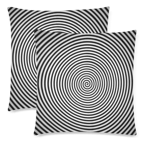 "Black & White Throw Pillow Cover 18""x 18"" (Twin Sides) (Set of 2)"