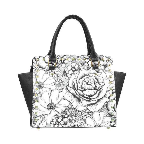 Floral Rivet Shoulder Handbag (Model 1645)