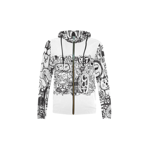 Black & White Kid's All Over Print Full Zip Hoodie (Model H14)