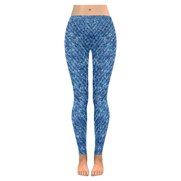 Denim Blue Jeans All-Over Low Rise Leggings (Model L05)