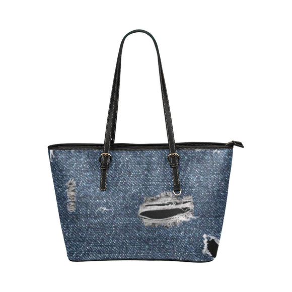 Ripped-Denim Leather Tote Bag (Model1651) (Big)