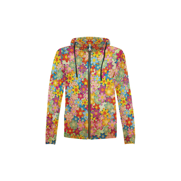 Floral Kid's All Over Print Full Zip Hoodie (Model H14)