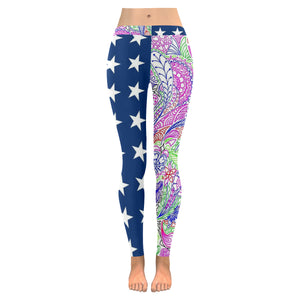 Abstract Stars All-Over Low Rise Leggings (Model L05)
