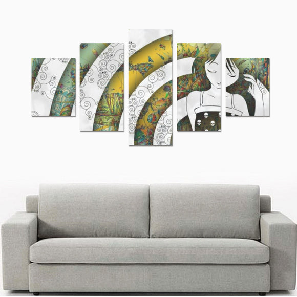 Home Psychedelic Canvas Wall Art Prints (No Frame) 5-Pieces/Set B