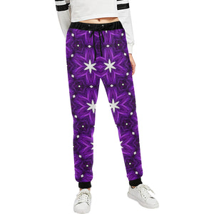 Julia Rose Background Star Purple Antique Women's All Over Print Casual Sweatpants (Model L11)