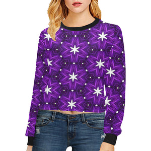 Julia Rose Background Star Purple Antique Women's Cropped Pullover Sweatshirts (Model H20)