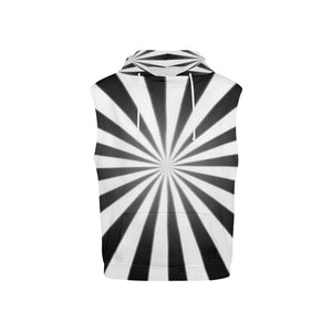Black & White Kid's All Over Print Sleeveless Hoodie (Model H15)