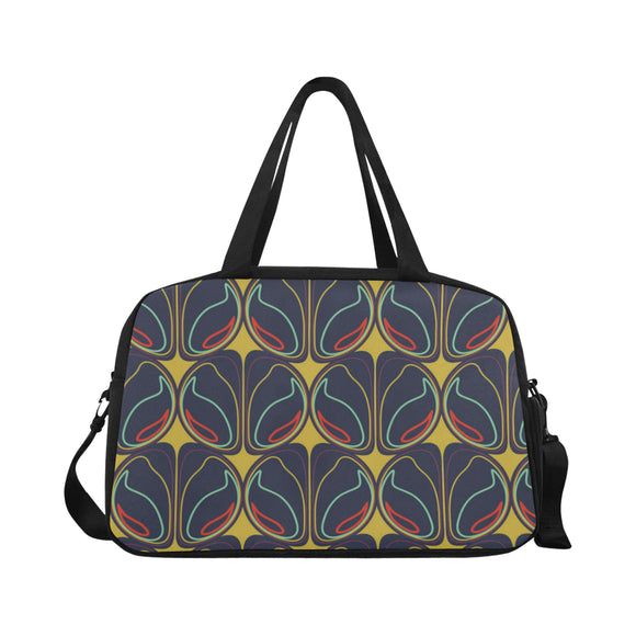 Symbol geometric abstract pattern Tote And Cross-body Travel Bag (Black)