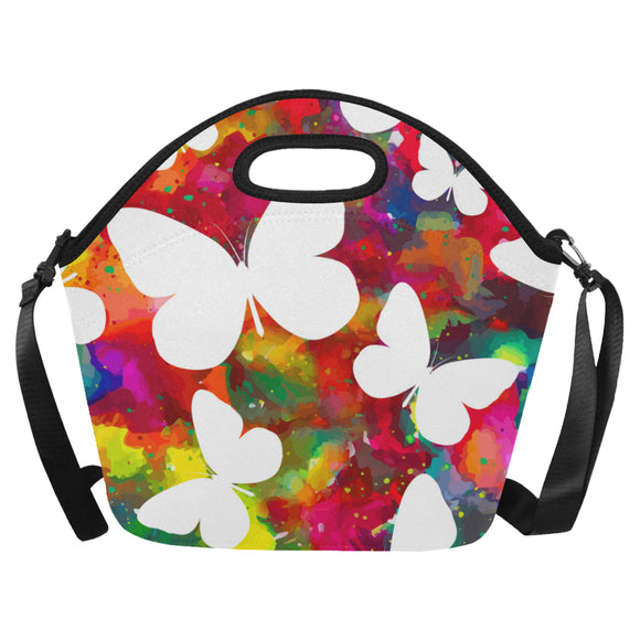 Animal butterflies white vivid background Neoprene Lunch Bag (Model 1669)(Large)