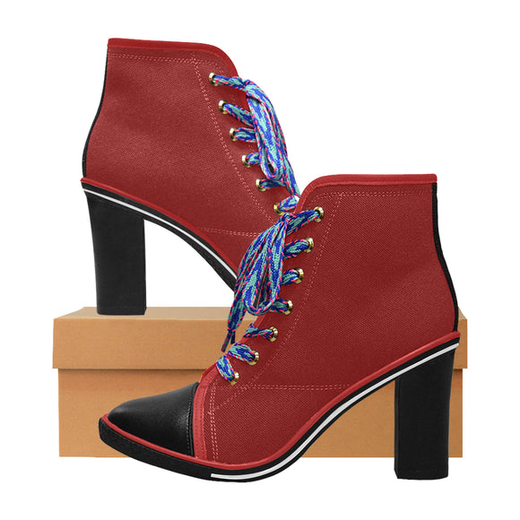 womens chunky heel boots - red Women's Canvas Lace Up Chunky Heel Ankle Boots (Model 054)