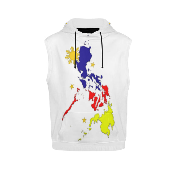 Philippines Mag Flag Men's All Over Print Sleeveless Hoodie (Model H15)