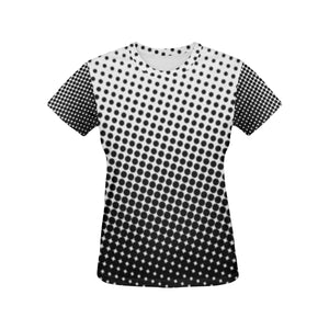 Black & White Women's All Over Print T-shirt (USA Size) (Model T40)