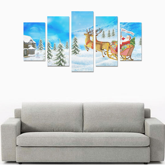 Santa Claus New Year Christmas Presents Reindeer Canvas Wall Art Prints (No Frame) 5-Pieces/Set A