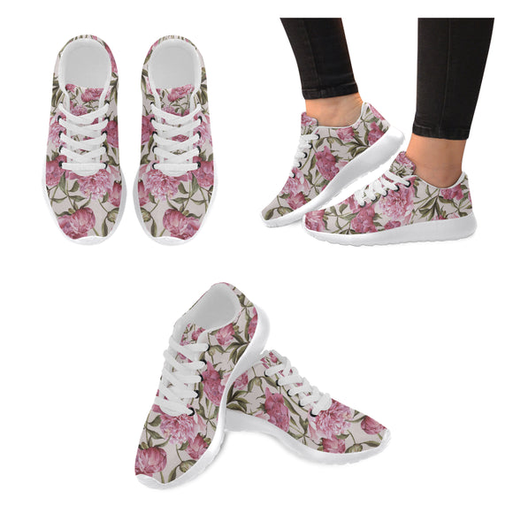 Julia Rose Nature Flower Floral Vintage Peony Pink Elegantt Women's Sneakers (Model020)