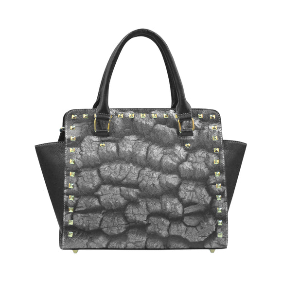 Texture Black Rivet Shoulder Handbag (Model 1645)