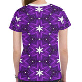 Julia Rose Background Star Purple Antique Women's All Over Print Mesh Cloth T-shirt (Model T45)