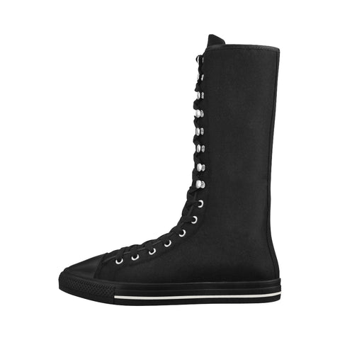 Black & White High Canvas Womens Boots
