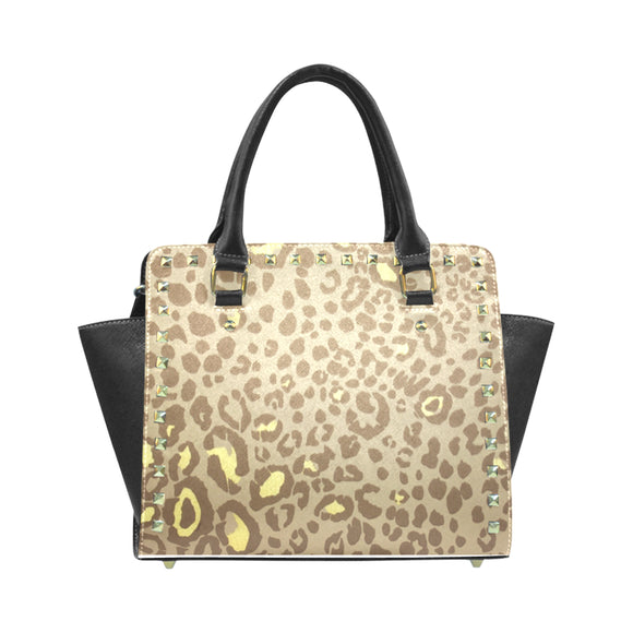 Gold Printed Handbag Rivet Shoulder Handbag (Model 1645)