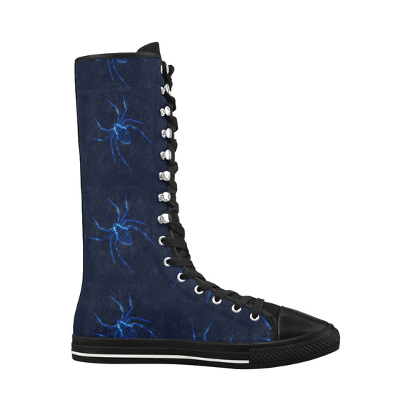 Animal spiders black light Halley Knee High Canvas Women's Boots (Model7013H)