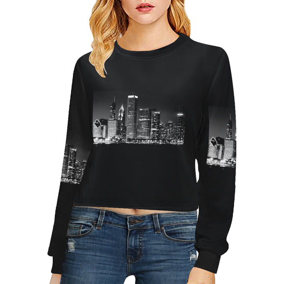 Julia Rose Cities Women's Cropped Pullover Sweatshirts (Model H20)