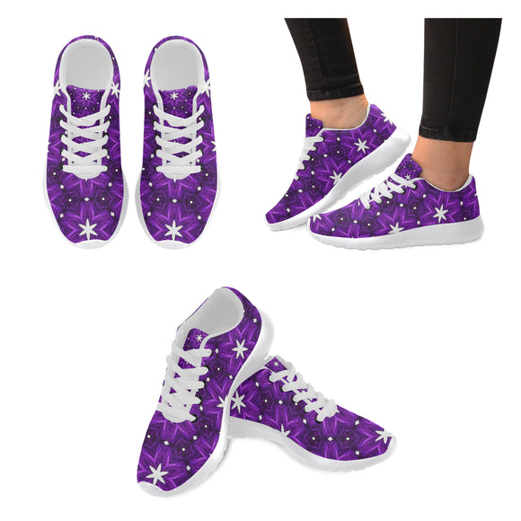 Julia Rose Background Star Purple Antique Women's Sneakers (Model020)