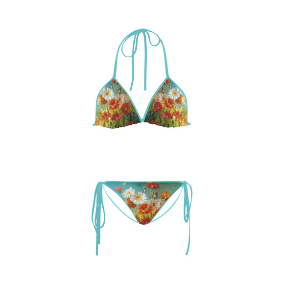 Nature flower colorful painting Custom Bikini Swimsuit (Model S01)