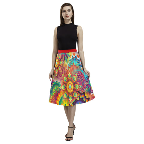 Abstract Women Crepe Skirt (Model D16)